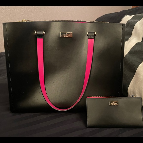 Kate Spade Large Black/Pink Purse with Wallet